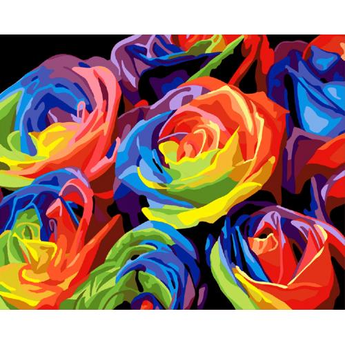 Pictura pe numere - Panza din bumbac pe rama de lemn 40*50 cm - Trandafiri colorati (PDP-554)