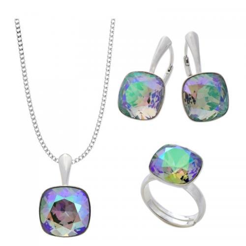 Set Argint 925 (Cercei, Inel, Lantisor si Pandantiv), Set SWAROVSKI Brilliant Paradise + CADOU Laveta profesionala pentru curatat bijuteriile din argint