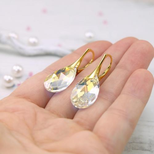Set Argint 925 placat cu Aur 18k, Set SWAROVSKI Style Aurora Boreala + CADOU Laveta profesionala pentru curatat bijuteriile din argint + Cutie Cadou