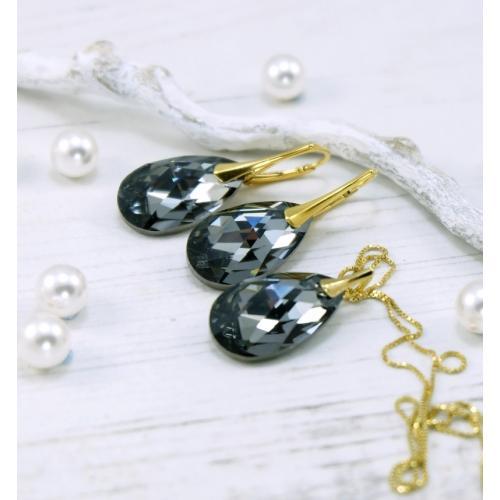 Set Argint 925 placat cu Aur 18k, Set SWAROVSKI Style Night + CADOU Laveta profesionala pentru curatat bijuteriile din argint + Cutie Cadou