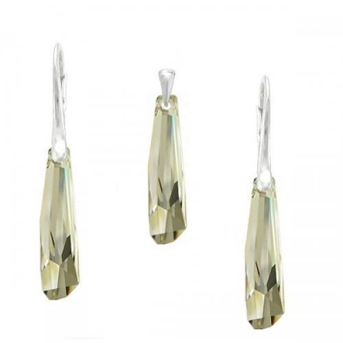 Set Argint 925, Set SWAROVSKI Crystalactite Shade 30mm + CADOU Laveta profesionala pentru curatat bijuteriile din argint + Cutie Cadou