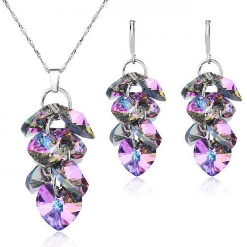 Set Argint 925, Set SWAROVSKI Crystals Chandelier Vitrail Light 10mm + CADOU Laveta profesionala pentru curatat bijuteriile din argint