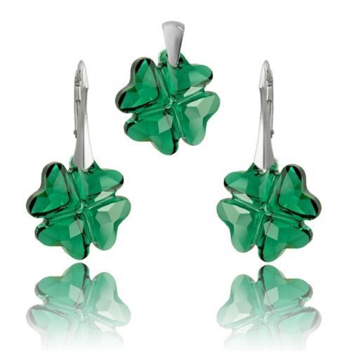 Set Argint 925, Set SWAROVSKI Crystals Clover Emerald + CADOU Laveta profesionala pentru curatat bijuteriile din argint