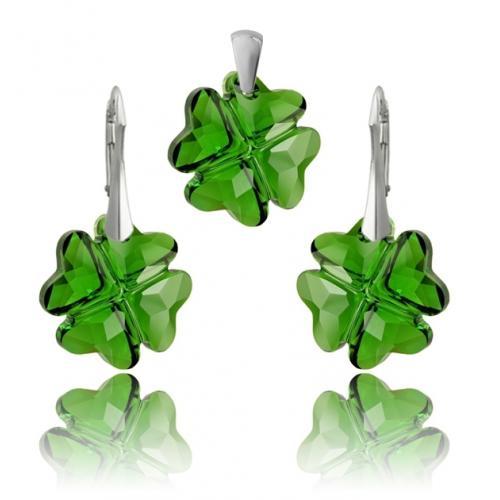 Set Argint 925, Set SWAROVSKI Crystals Clover Most Green + CADOU Laveta profesionala pentru curatat bijuteriile din argint