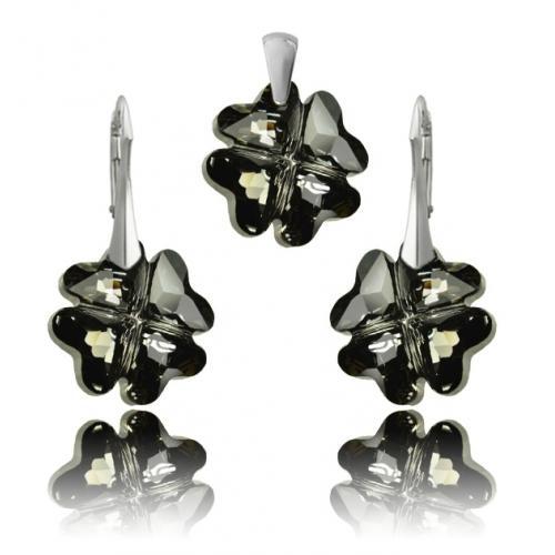 Set Argint 925, Set SWAROVSKI Crystals Clover Night + CADOU Laveta profesionala pentru curatat bijuteriile din argint