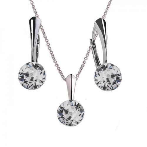 Set Argint 925, Set Swarovski Crystals Finesse Crystal Clear  + CADOU Laveta profesionala pentru curatat bijuteriile din argint + Cutie Cadou