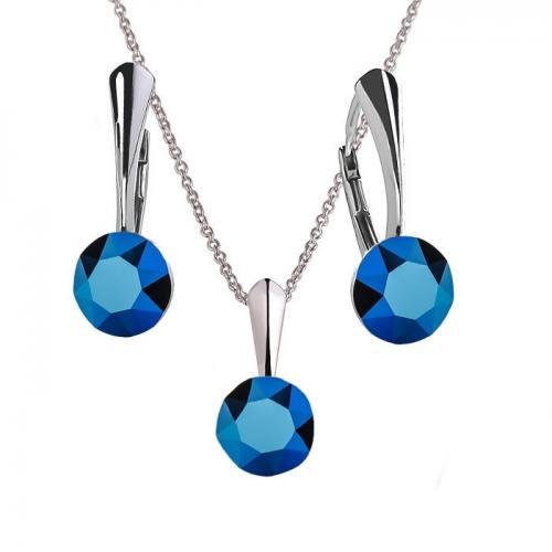 Set Argint 925, Set Swarovski Crystals Finesse Metallic Blue  + CADOU Laveta profesionala pentru curatat bijuteriile din argint + Cutie Cadou