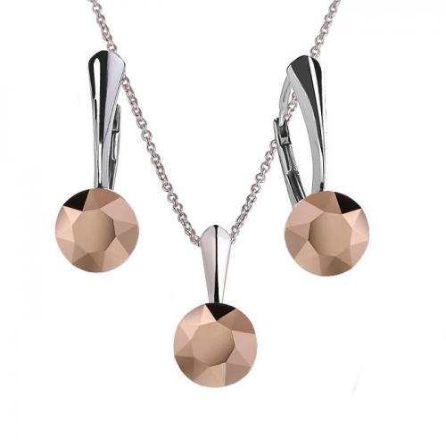 Set Argint 925, Set Swarovski Crystals Finesse Rose Gold  + CADOU Laveta profesionala pentru curatat bijuteriile din argint + Cutie Cadou