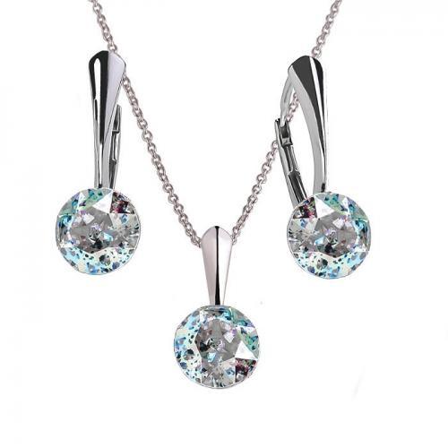 Set Argint 925, Set Swarovski Crystals Finesse White Patina  + CADOU Laveta profesionala pentru curatat bijuteriile din argint + Cutie Cadou