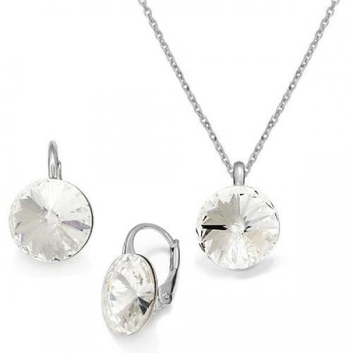 Set Argint 925, Set Swarovski Crystals Grace Crystal Clear + CADOU Laveta profesionala pentru curatat bijuteriile din argint + Cutie Cadou