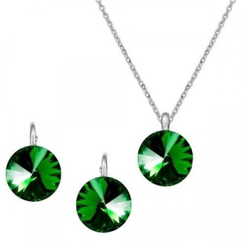 Set Argint 925, Set Swarovski Crystals Grace Dark Green + CADOU Laveta profesionala pentru curatat bijuteriile din argint + Cutie Cadou