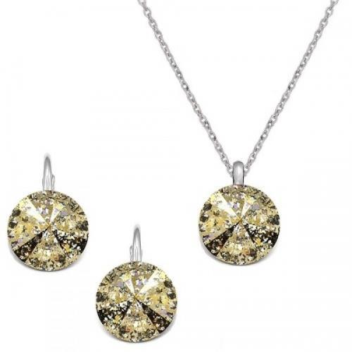 Set Argint 925, Set Swarovski Crystals Grace Gold Patina + CADOU Laveta profesionala pentru curatat bijuteriile din argint + Cutie Cadou
