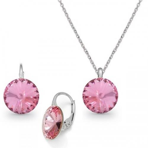 Set Argint 925, Set Swarovski Crystals Grace Light Rose + CADOU Laveta profesionala pentru curatat bijuteriile din argint + Cutie Cadou