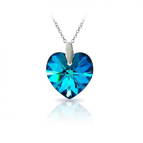 Set Argint 925, Set SWAROVSKI Crystals Inima Oceanului Titanic + CADOU Laveta profesionala pentru curatat bijuteriile din argint + Cutie Cadou