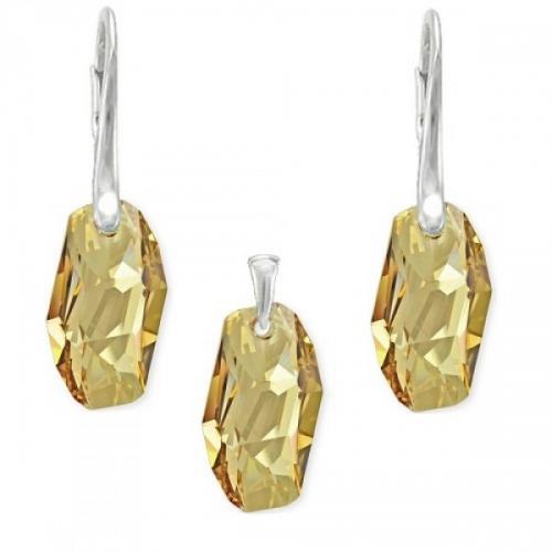 Set Argint 925, Set SWAROVSKI Crystals Meteor Gold + CADOU Laveta profesionala pentru curatat bijuteriile din argint + Cutie Cadou