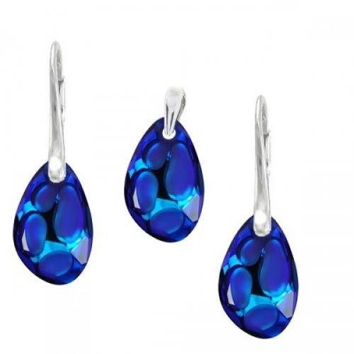 Set Argint 925, Set SWAROVSKI Crystals Radiolarian Electric Blue + CADOU Laveta profesionala pentru curatat bijuteriile din argint + Cutie Cadou