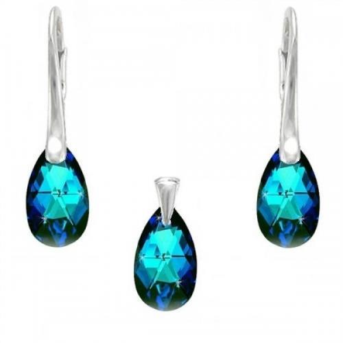 Set Argint 925, Set SWAROVSKI Crystals Style 16mm Electric Blue + CADOU Laveta profesionala pentru curatat bijuteriile din argint