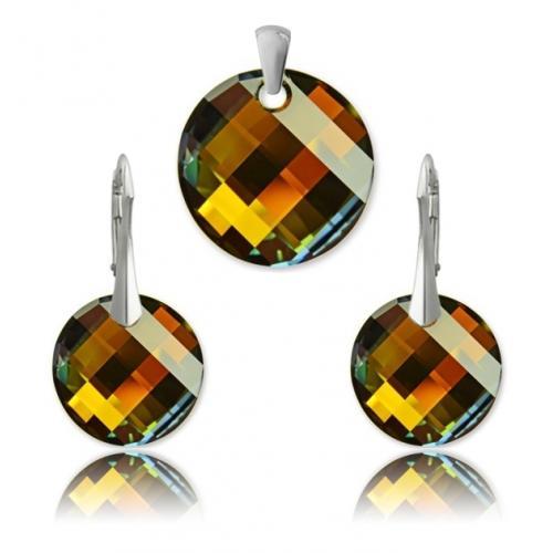 Set Argint 925, Set SWAROVSKI Crystals Twist (2) Tabac + CADOU Laveta profesionala pentru curatat bijuteriile din argint