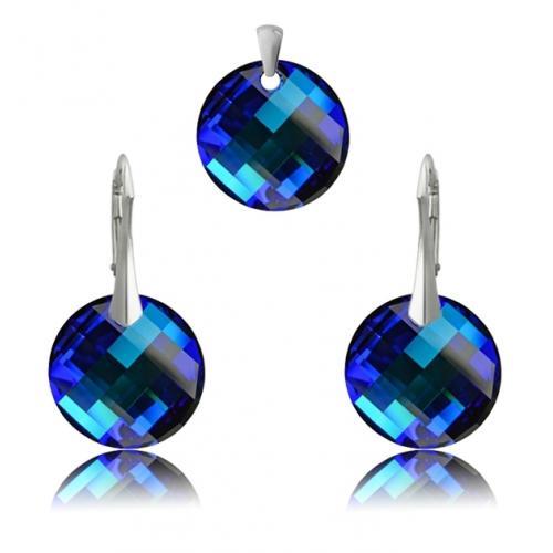 Set Argint 925, Set SWAROVSKI Crystals Twist Electric Blue + CADOU Laveta profesionala pentru curatat bijuteriile din argint