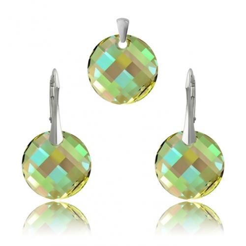 Set Argint 925, Set SWAROVSKI Crystals Twist Luminous Green + CADOU Laveta profesionala pentru curatat bijuteriile din argint