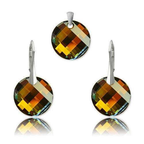 Set Argint 925, Set SWAROVSKI Crystals Twist Tabac + CADOU Laveta profesionala pentru curatat bijuteriile din argint