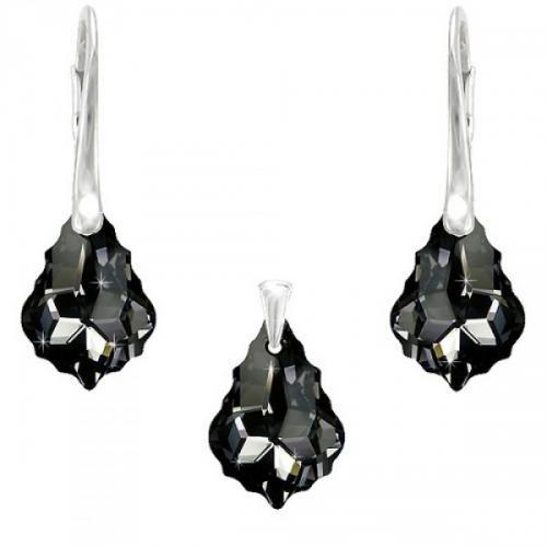 Set Argint 925, Set SWAROVSKI Crystals Unique Night + CADOU Laveta profesionala pentru curatat bijuteriile din argint + Cutie Cadou