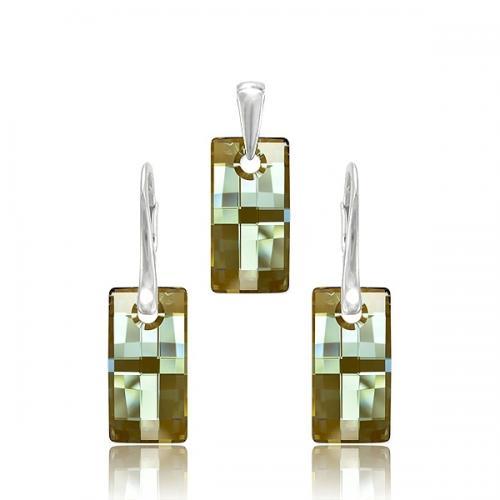 Set Argint 925, Set Swarovski Crystals Urban Bronze + CADOU Laveta profesionala pentru curatat bijuteriile din argint + Cutie Cadou