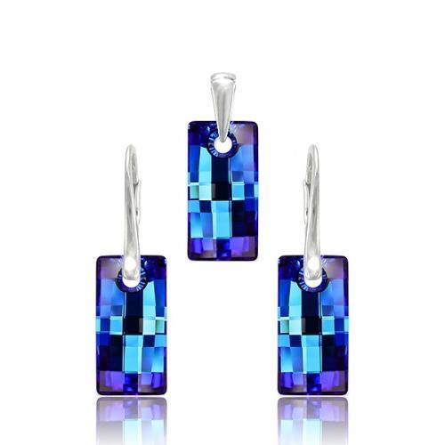 Set Argint 925, Set Swarovski Crystals Urban Electric Blue + CADOU Laveta profesionala pentru curatat bijuteriile din argint + Cutie Cadou