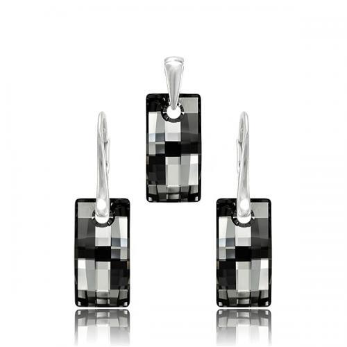Set Argint 925, Set Swarovski Crystals Urban Night + CADOU Laveta profesionala pentru curatat bijuteriile din argint + Cutie Cadou