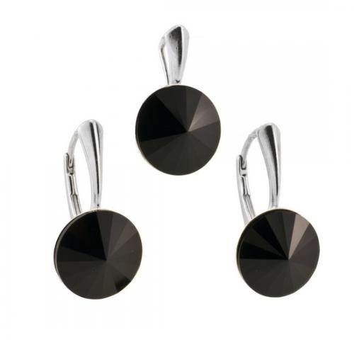 Set Argint 925, Set SWAROVSKI Grace Black + CADOU Laveta profesionala pentru curatat bijuteriile din argint + Cutie Cadou