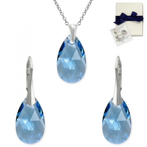 Set Argint 925, Set SWAROVSKI Style Aquamarine 22mm + CADOU Laveta profesionala pentru curatat bijuteriile din argint + Cutie Cadou