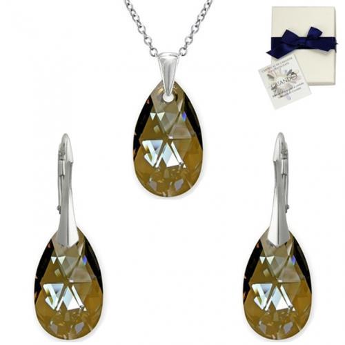Set Argint 925, Set SWAROVSKI Style Bronze 22mm + CADOU Laveta profesionala pentru curatat bijuteriile din argint + Cutie Cadou