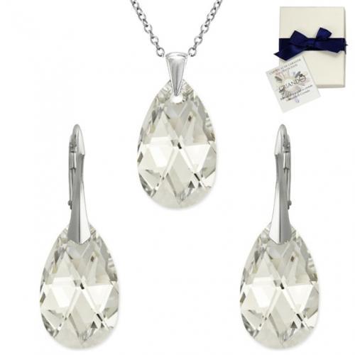 Set Argint 925, Set SWAROVSKI Style Crystal CAL 22mm + CADOU Laveta profesionala pentru curatat bijuteriile din argint + Cutie Cadou