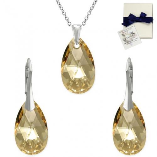 Set Argint 925, Set SWAROVSKI Style Gold 22mm + CADOU Laveta profesionala pentru curatat bijuteriile din argint + Cutie Cadou