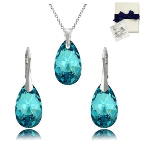 Set Argint 925, Set SWAROVSKI Style Turquoise + CADOU Laveta profesionala pentru curatat bijuteriile din argint + Cutie Cadou
