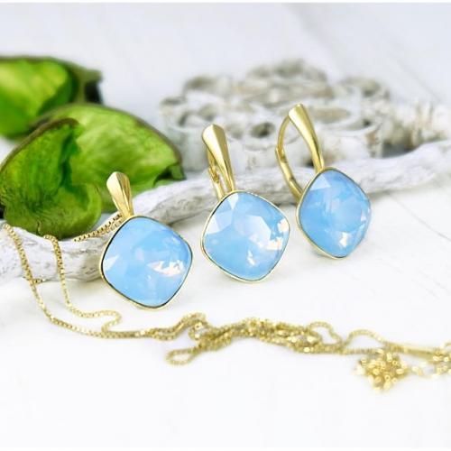 Set bijuterii Argint 925 placat cu Aur 24k, Set SWAROVSKI Brilliant Blue Opal + CADOU Laveta profesionala pentru curatat bijuteriile din argint + Cutie Cadou