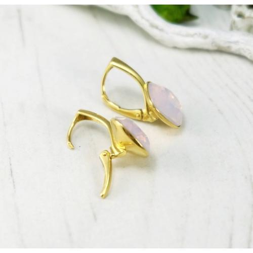 Set bijuterii Argint 925 placat cu Aur 24k, Set SWAROVSKI Brilliant Rose Opal + CADOU Laveta profesionala pentru curatat bijuteriile din argint + Cutie Cadou