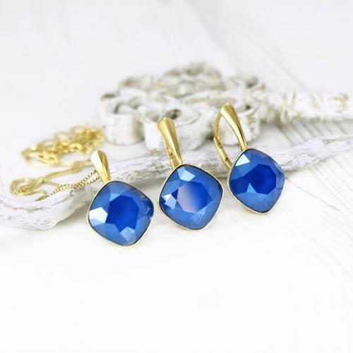 Set bijuterii Argint 925 placat cu Aur 24k, Set SWAROVSKI Brilliant Royal Blue + CADOU Laveta profesionala pentru curatat bijuteriile din argint + Cutie Cadou