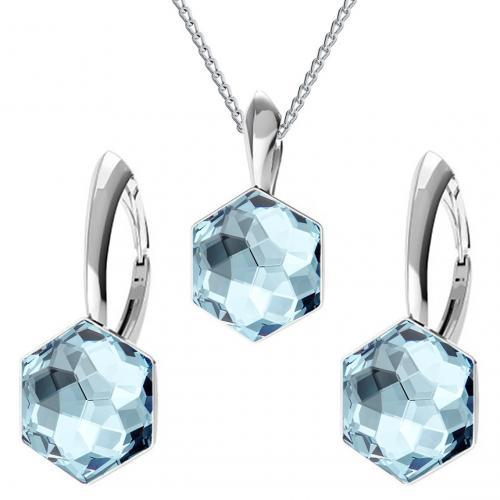 Set bijuterii Argint 925, Set bijuterii SWAROVSKI Hexagon Aquamarine 10mm + CADOU Laveta profesionala pentru curatat bijuterii din argint