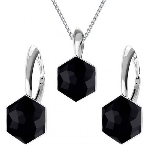 Set bijuterii Argint 925, Set bijuterii SWAROVSKI Hexagon Black 10mm + CADOU Laveta profesionala pentru curatat bijuterii din argint