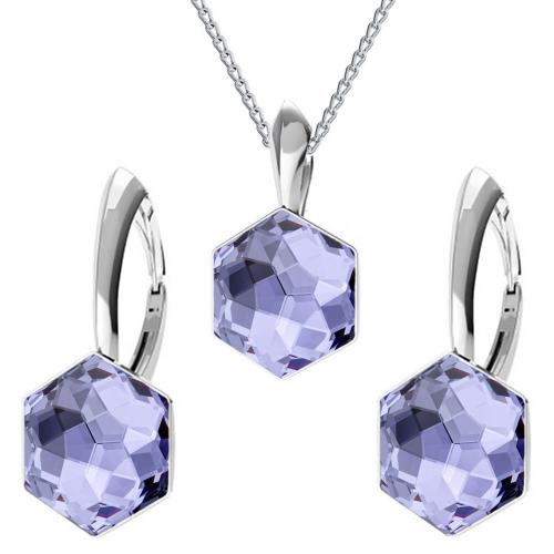 Set bijuterii Argint 925, Set bijuterii SWAROVSKI Hexagon Tanzanite 10mm + CADOU Laveta profesionala pentru curatat bijuterii din argint
