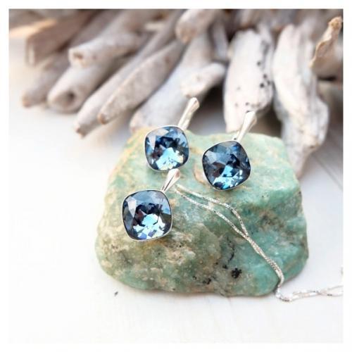Set bijuterii Argint 925, Set SWAROVSKI Brilliant Denim + CADOU Laveta profesionala pentru curatat bijuteriile din argint + Cutie Cadou