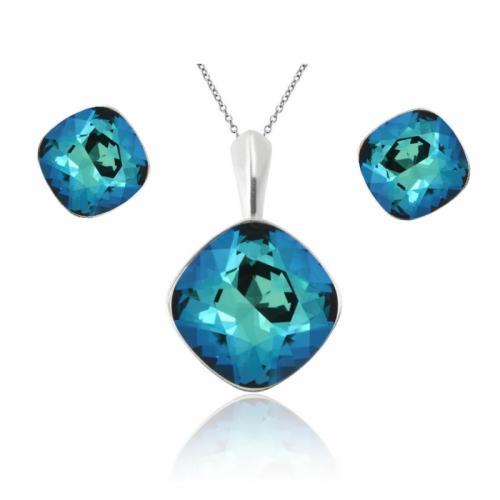 Set bijuterii Argint 925, Set SWAROVSKI Brilliant Electric Blue + CADOU Laveta profesionala pentru curatat bijuteriile din argint + Cutie Cadou