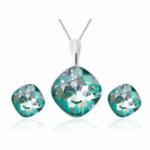 Set bijuterii Argint 925, Set SWAROVSKI Brilliant Laguna + CADOU Laveta profesionala pentru curatat bijuteriile din argint + Cutie Cadou