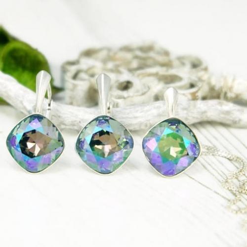Set bijuterii Argint 925, Set SWAROVSKI Brilliant Paradise + CADOU Laveta profesionala pentru curatat bijuteriile din argint