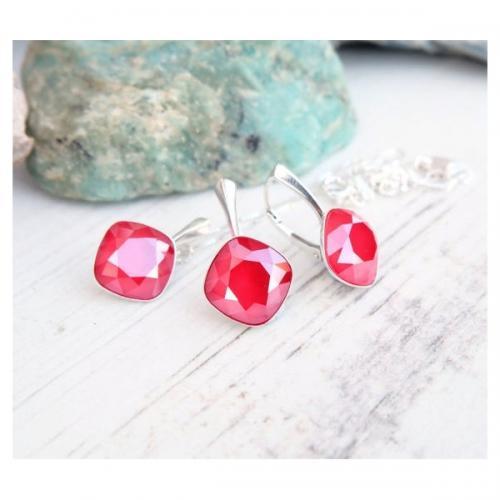Set bijuterii Argint 925, Set SWAROVSKI Brilliant Royal Red + CADOU Laveta profesionala pentru curatat bijuteriile din argint + Cutie Cadou