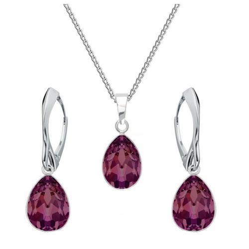 Set bijuterii Argint 925, Set SWAROVSKI Crystals Glamour Amethyst + CADOU Laveta profesionala pentru curatat bijuteriile din argint