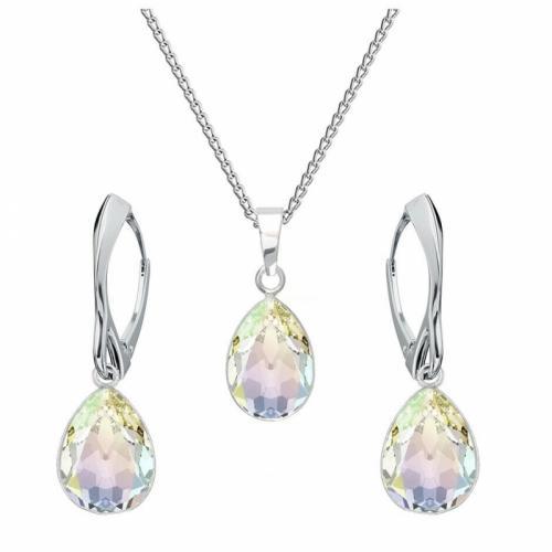 Set bijuterii Argint 925, Set SWAROVSKI Crystals Glamour Aurore Boreale + CADOU Laveta profesionala pentru curatat bijuteriile din argint