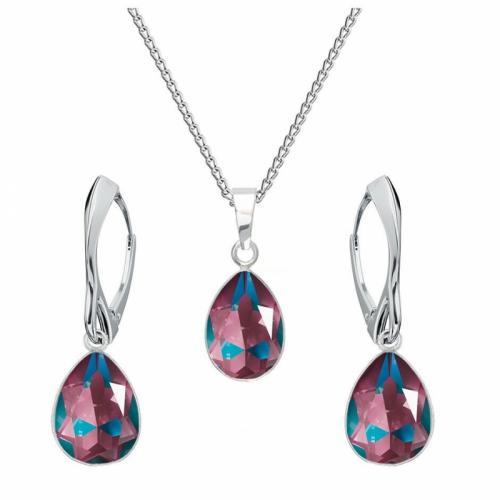 Set bijuterii Argint 925, Set SWAROVSKI Crystals Glamour Burgundy Delite + CADOU Laveta profesionala pentru curatat bijuteriile din argint