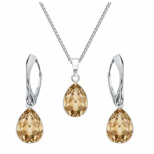 Set bijuterii Argint 925, Set SWAROVSKI Crystals Glamour Gold + CADOU Laveta profesionala pentru curatat bijuteriile din argint